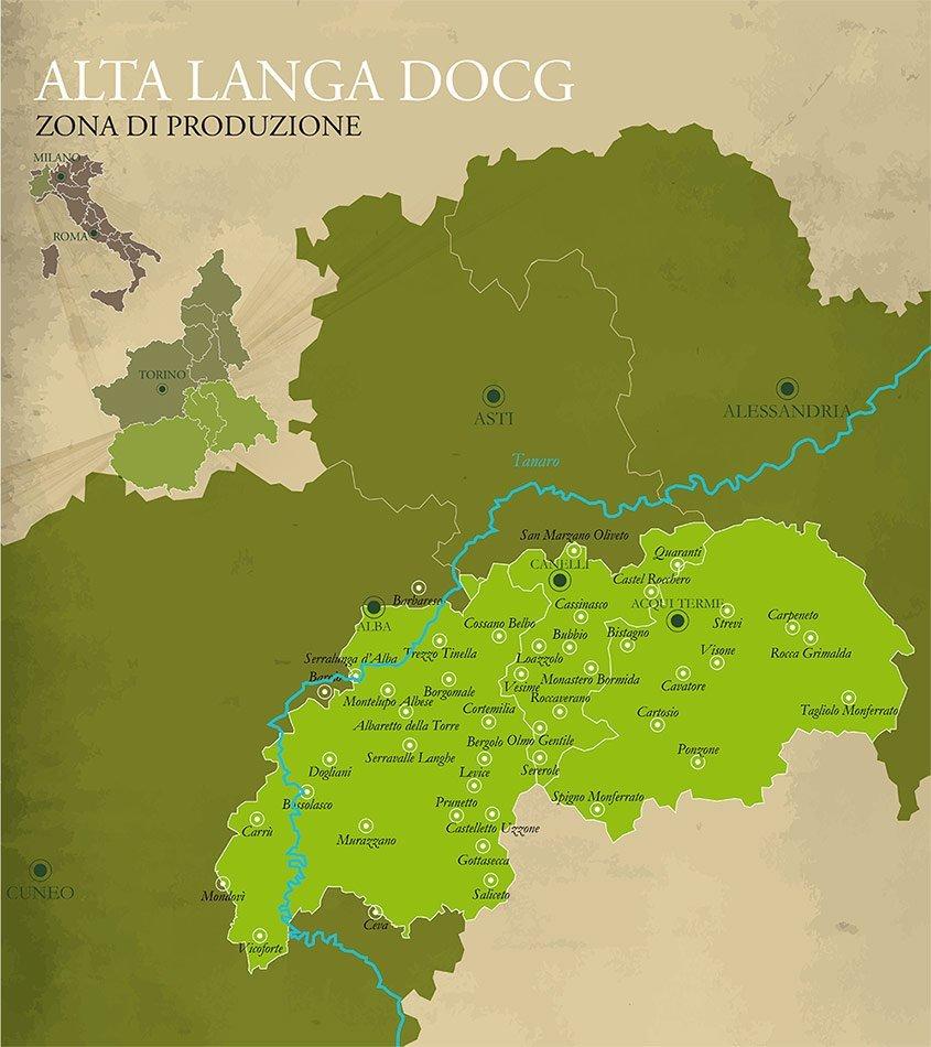 Zona di produzione dell'Alta Langa DOCG